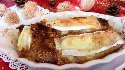 rhum blanc : Cassolettes de crêpes fourrées au camembert
