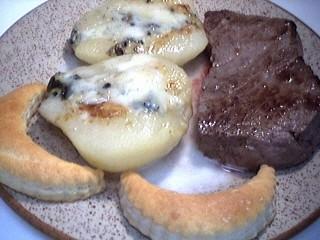 Recette Assiette de tournedos aux poires et roquefort
