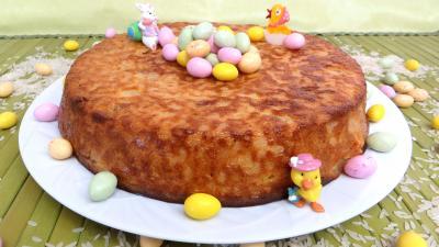 gâteau de riz : Assiette de gâteau de riz aux poires