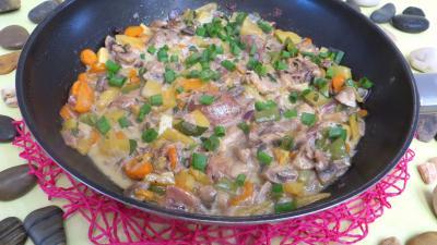 Image : Wok de panaché de légumes au confit de canard