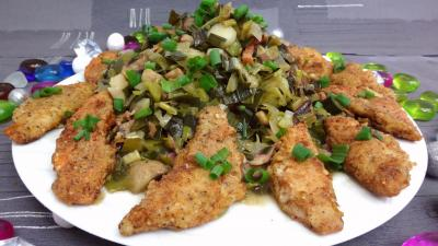 plat complet : Assiette de rougets panés aux poireaux