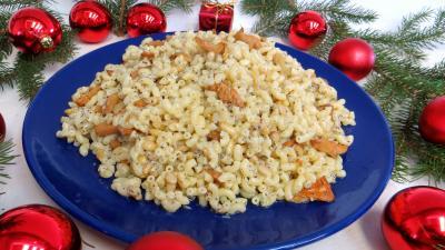 Image : Assiette de coquillettes aux girolles façon génoise