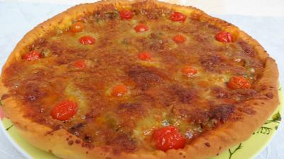 pâte à pizza : Assiette de pizza aux oignons et au bleu