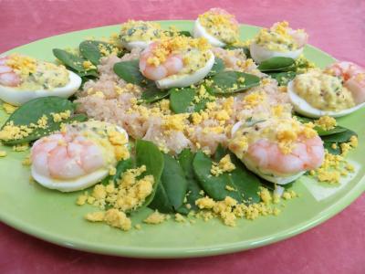 Mayonnaise aux 2 huiles : Oeufs mimosa aux crevettes