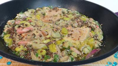 Cuisson à la casserole : Wok de lentilles à la sauce moutarde