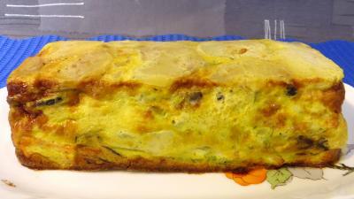 saumon : Plat de gâteau d'omelette au saumon
