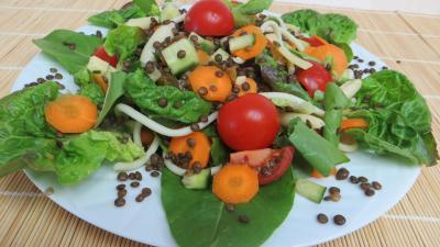 tomate cerise : Plat de lentilles en salade