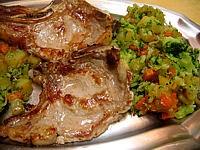 côtes de veau sautées aux légumes