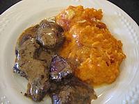 Image : Assiette de gratin de patates douces au chaource