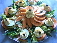 Recette Assiette d'oeufs farcis à la brousse et au radis noir