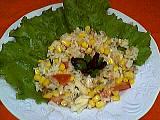 Image : Assiette de salade de riz au thon