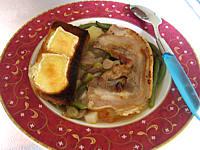 Image : Assiette de soupe au lard et topinambours