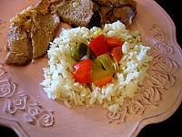 huile de maïs : Assiette de riz au poivron