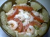 chou blanc : Salade d'ananas et crevettes