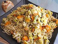 Image : Cuisine asiatique - Nouilles chinoises aux poireaux