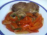 Recette Assiette d'escalopes de dinde aux poivrons