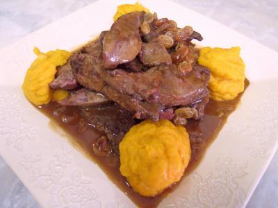 Photo : Foie de veau aux raisins secs et au potimarron