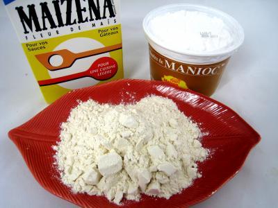 Image : Amidon ou fécule - Différentes fécules et farine de blé
