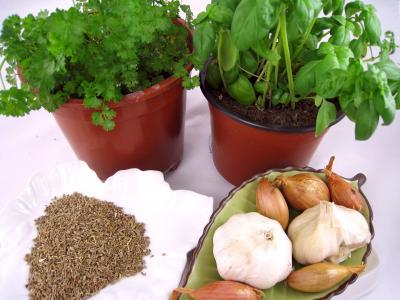 Image : Aromates - Basilic, persil, graines d'anis, ail et échalotes, pour les aromates