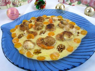 crustacés : Plat de noix de Saint-Jacques au cidre et aux noix
