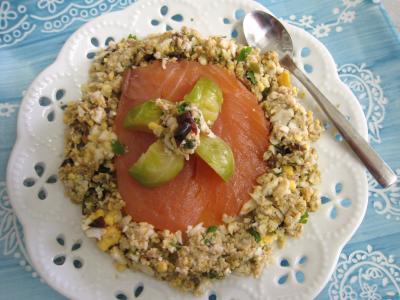Recette Assiette d'un amuse-bouche au saumon fumé et aux choux de Bruxelles