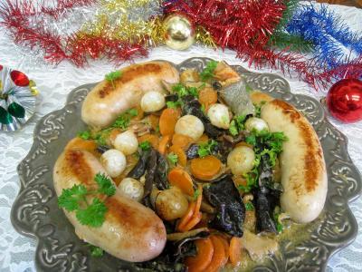 champignon shiitake : Assiette de boudins blancs aux champignons et aux chiitakes