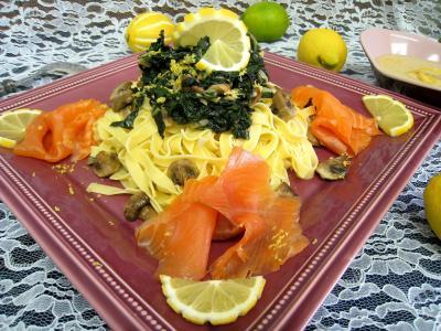 Image : Truite fumée - Assiette de tagliatelles au citron et truite fumée