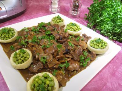 Recette Rognons de veau sautés aux cèpes et ses fonds d'artichauts