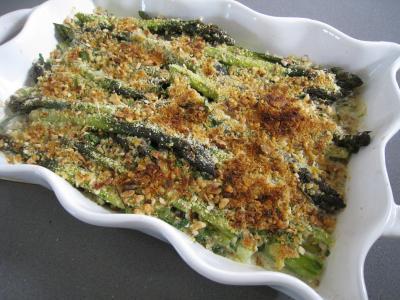 Image : Plat à gratin d'asperges gratinées
