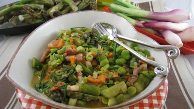 romarin déshydraté : Assiette de fèves crèmées aux lardons