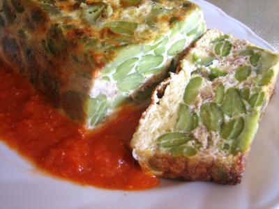Cuisine diététique : Assiette de clafoutis aux fèves et au thon