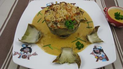 entrée à base de poisson : Assiette d'artichaut farci à la perche
