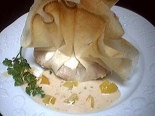 Image : Aumônière de boudin blanc et sa sauce