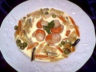 noix de saint jacques : Assiette de blanquette de coquilles saint-Jacques