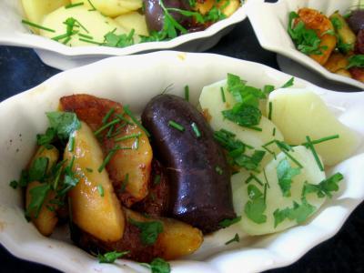 Abats : Cassolette de boudin aux ppommes et pommes de terre