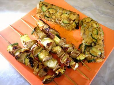 Image : recette Brochettes de porc aux restes de polenta
