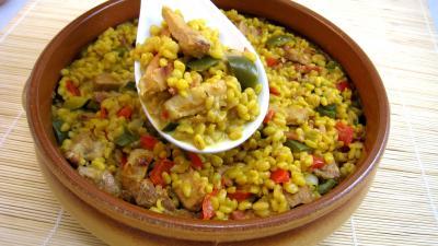 Image : Saladier de sauté de dinde au blé et poivrons