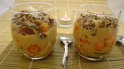 Recette Verrines de blanquette de figues à la bière et au coco