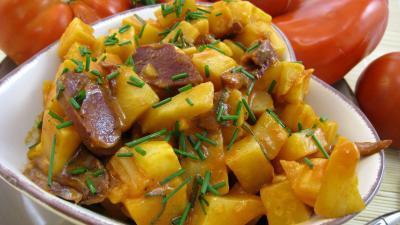 gésier confit : Assiette de céleri-rave aux gésiers confits façon landaise
