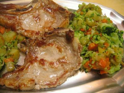 côte de veau sautée aux légumes