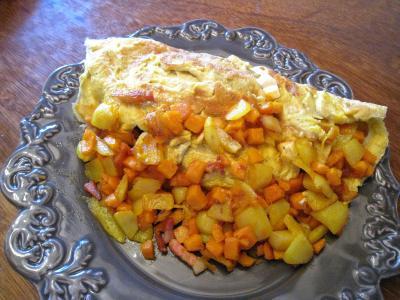 Image : Assiette d'omelette au potimarron et au chèvre