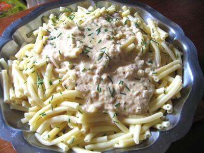 Macaronis sauce aux noisettes