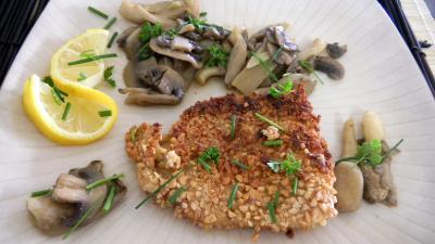 merlan : Assiette de merlan aux champignons et pleurotes