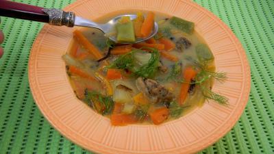 soupe de viandes et charcuterie : Assiette de carottes au ris de veau