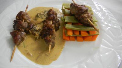 Recette Assiette de brochettes de ris de veau aux légumes