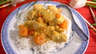 Recette Assiette de poulet noix de coco et vermicelles
