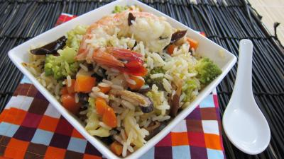 Recette Assiette de riz minceur aux crevettes
