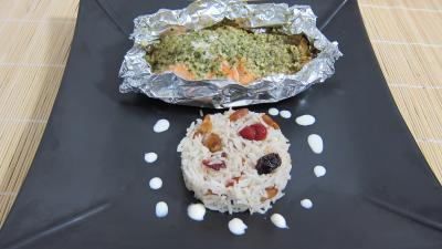 Recette Assiette de papillotes de pavés de saumon et son riz aux fruits secs