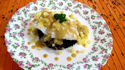 Image : Assiette de loup de mer et sa sauce au champagne